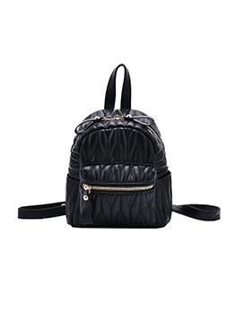 Multiple Zipper Threaded Women Small Backpack