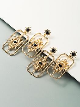 Geometry Rhinestone Women Long Earrings