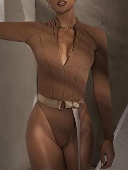 Front Zipper Solid Skinny Long Sleeve Bodysuit