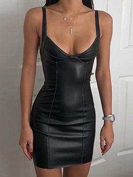 Plain Black Pu Low V Neck Sleeveless Dress