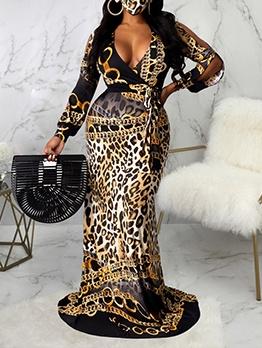 Deep V Neck Leopard Print Floor Length Dress