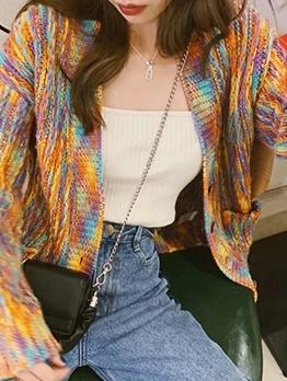 Colorful Long Sleeve Loose Knitting Cardigan