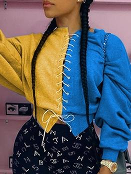 Trendy Contrast Color Lace Up Comfy Sweatshirt