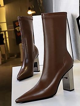 Stylish Chunky Heel Pointed Toe Womens Boots