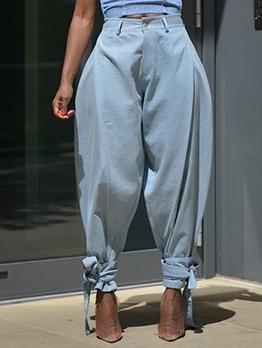 Tie Hem Detail Light Blue Jeans
