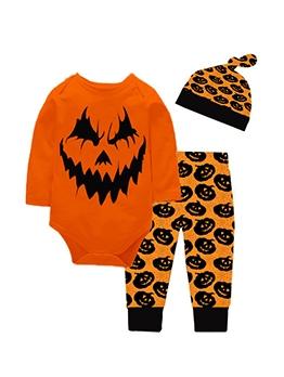 Halloween Pumpkin Print Three Piece Sets