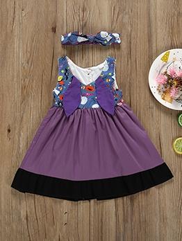 Halloween Patchwork Cartoon Girl Dress