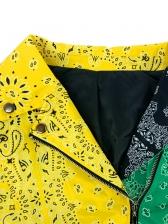 Plus Size Contrast Color Printing Ladies Coats