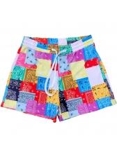 Color Block Printed Beach Short Pants