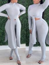 Split Tie-Bow Solid Color 2 Piece Pants Set