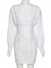 Front Lace Up Lantern Sleeve One Piece Dress