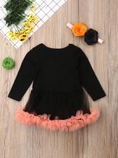 Halloween Pumpkin Print Girls Dress