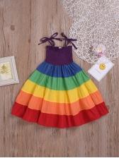 Summer Rainbow Sleeveless Dress For Girls