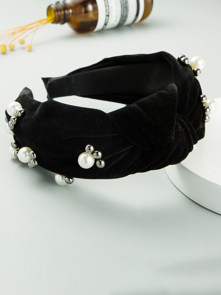 Simple Solid Cloth Faux-Pearl Decoration Hair Hoop
