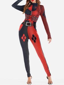 Halloween Cosplay Contrast Color Skinny Jumpsuit