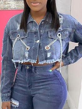 Fashion Bsckless Long Sleeve Women Denim Jacket