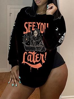 Halloween Ghost Skull Printed Sweatshirt For Women