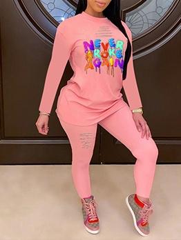 Colorful Letter O Neck Slim 2 Piece Pants Set