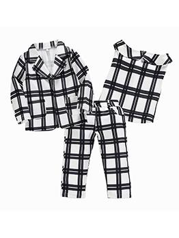 Fashion Plaid Three Piece Sets For Girls