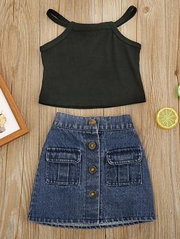 Girls Halter Top With Denim Skirt