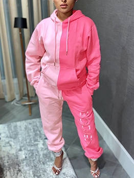 Sporty Color Block Hooded Ladies Tracksuits