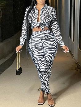 Stylish Leopard Long Sleeve Two Piece Pants Set