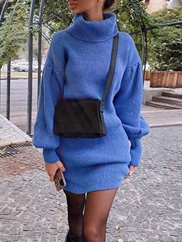 Pure Color Turtleneck Lantern Sleeve Sweater Dress