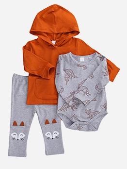 Cartoon Fox Print Three Piece Baby Set For Autumn