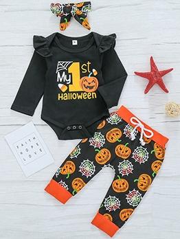 Halloween Pumpkin Print Baby Clothing Set