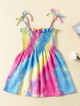 Colorful Tie Dye Elastic Waist Girls Summer Dress