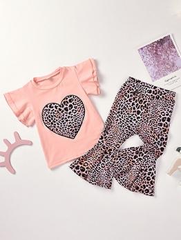 Leopard Heart Print Girls 2 Piece Bootcut Pants Set