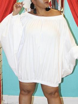 Plus Size Solid Off Shoulder Dresses For Women