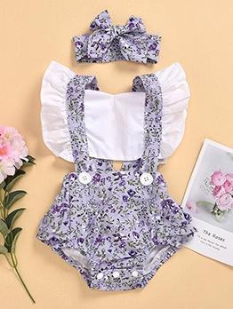 Floral Print Girls Clothing Set For Summer