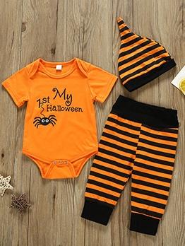 Striped Short Sleeve Three Piece Baby Romper Sets