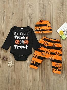 Halloween Pumpkin Print Three Piece Baby Set