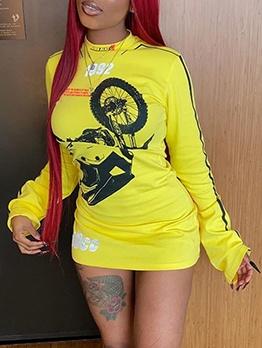 O Neck Printed Long Sleeve Mini Dress
