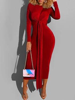 Fashion Solid Bandage Long Sleeve Maxi Dress