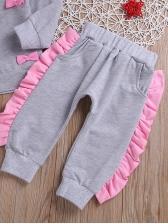 Stringy Selvedge Detail Gray Girl Clothing Set