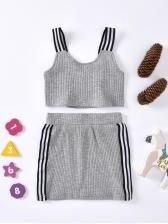 Striped Design Sleeveless Two Piece Skirt Set For Girls