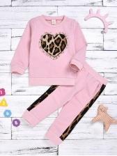 Beading Design Leopard Print Girls Clothing Set