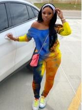 Bright Color Tie Dye 2 Piece Pants Set Without Headband