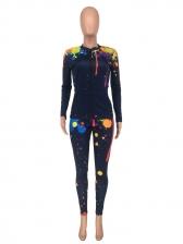 Splash Design Printed Casual 2 Piece Trouser Set