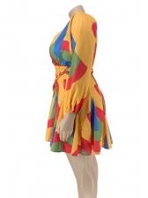 Large Hem Contrast Color Plus Size Dresses