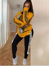 Printed Crew Neck Sweatshirt Plus Size Two Piece Sets