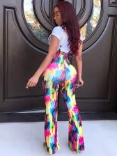 Stylish Printed Tee Two Piece Pants Set