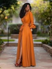 Stylish Deep v Solid Long Sleeve Maxi Dresses