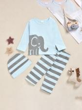 Boys Elephant Print Striped Three Piece Sets