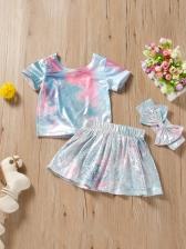 Girls Tie Dye Sequined Three Piece Sets