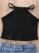Girls Halter Top With Denim Skirt