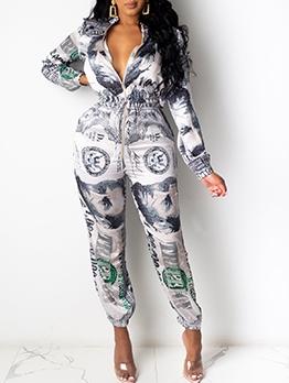 Dollar Print Long Sleeve Zipper Casual Jumpsuits